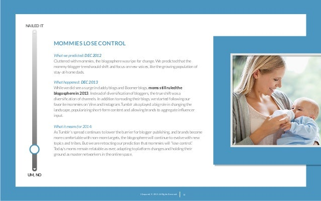NAILED IT  MOMMIES LOSE CONTROL  What we predicted: DEC 2012 Cluttered with mommies, the blogosphere was ripe for change....