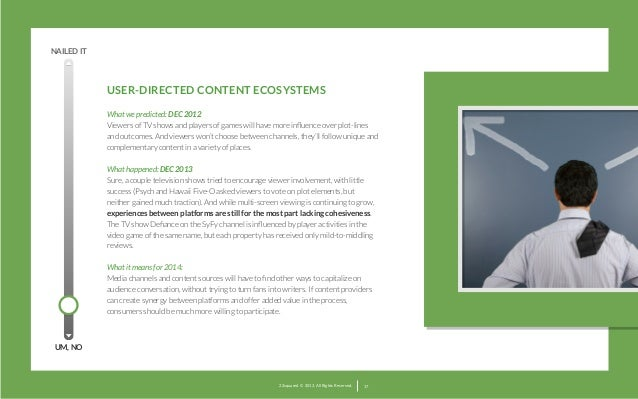 NAILED IT  USER-DIRECTED CONTENT ECOSYSTEMS  What we predicted: DEC 2012 Viewers of TV shows and players of games will ha...