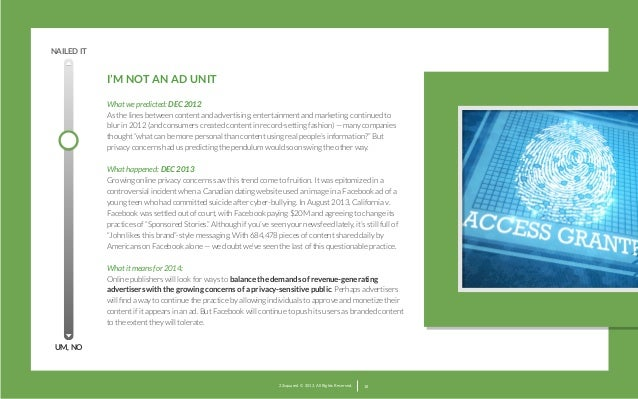 NAILED IT  I'M NOT AN AD UNIT What we predicted: DEC 2012 As the lines between content and advertising, entertainment and ...