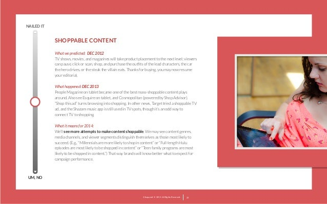 NAILED IT  SHOPPABLE CONTENT What we predicted: DEC 2012 TV shows, movies, and magazines will take product placement to t...