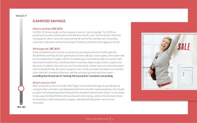 """NAILED IT  GAMIFIED SAVINGS What we predicted: DEC 2012 In 2012, JCPenney taught us that consumers want to """"see the saving..."""