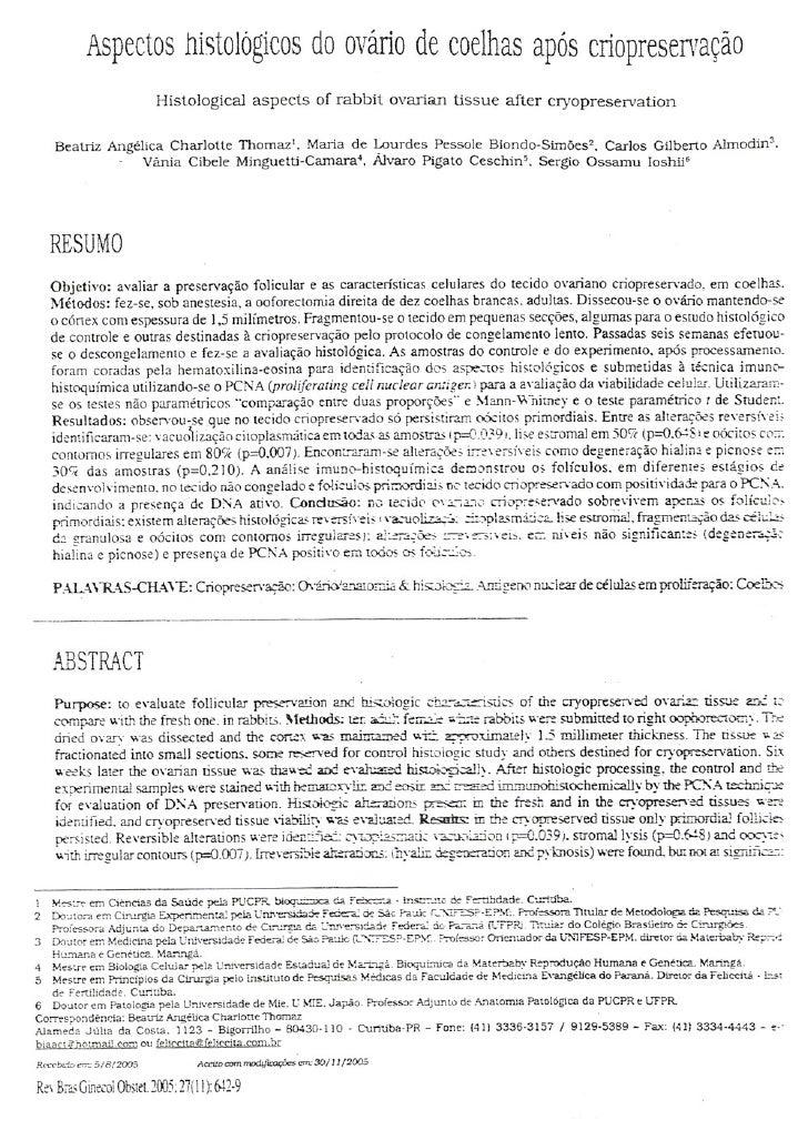Aspectos histológicos do ovário de coelhas após criopreservação