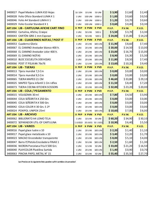 23 02 15 lista de precios andorpel papelera - Precios de maderas ...