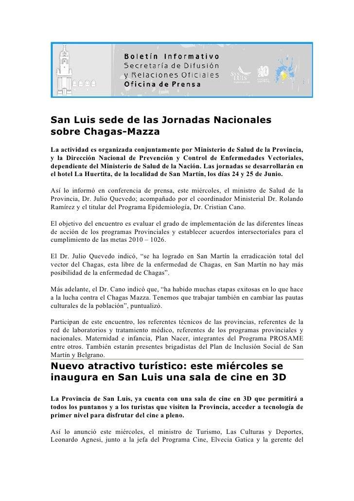 San Luis sede de las Jornadas Nacionales sobre Chagas-Mazza La actividad es organizada conjuntamente por Ministerio de Sal...