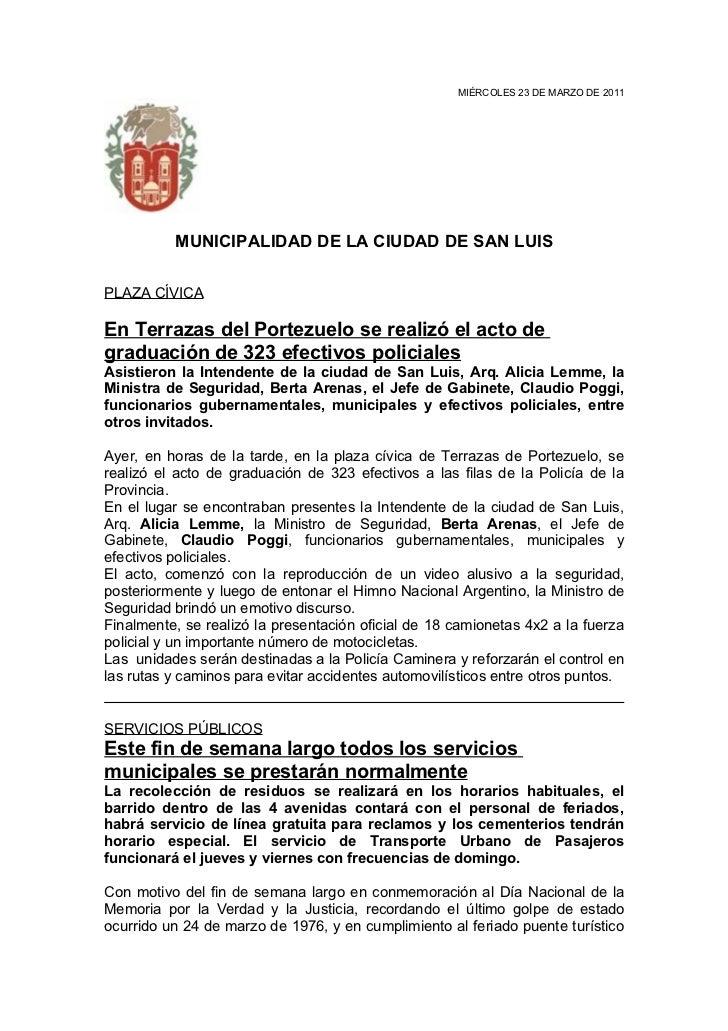 MIÉRCOLES 23 DE MARZO DE 2011          MUNICIPALIDAD DE LA CIUDAD DE SAN LUISPLAZA CÍVICAEn Terrazas del Portezuelo se rea...