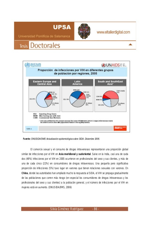 Silvia Giménez Rodríguez - 86 - El comercio sexual y el consumo de drogas intravenosas representaron una proporción global...