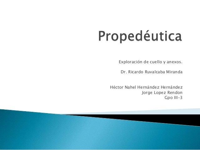 Exploración de cuello y anexos. Dr. Ricardo Ruvalcaba Miranda Héctor Nahel Hernández Hernández Jorge Lopez Rendon Gpo III-...