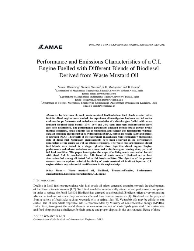Proc. of Int. Conf. on Advances in Mechanical Engineering, AETAME  Performance and Emissions Characteristics of a C.I. Eng...