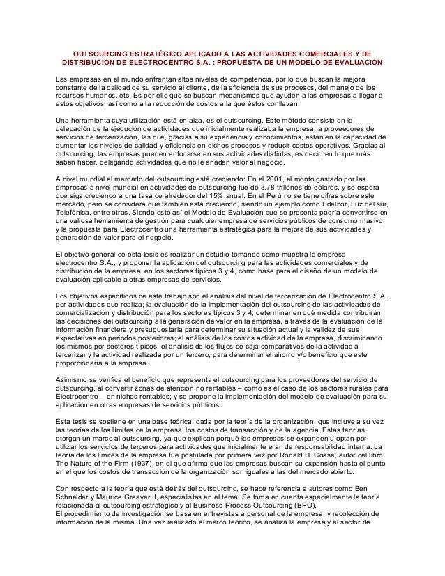 OUTSOURCING ESTRATÉGICO APLICADO A LAS ACTIVIDADES COMERCIALES Y DE DISTRIBUCIÓN DE ELECTROCENTRO S.A. : PROPUESTA DE UN M...