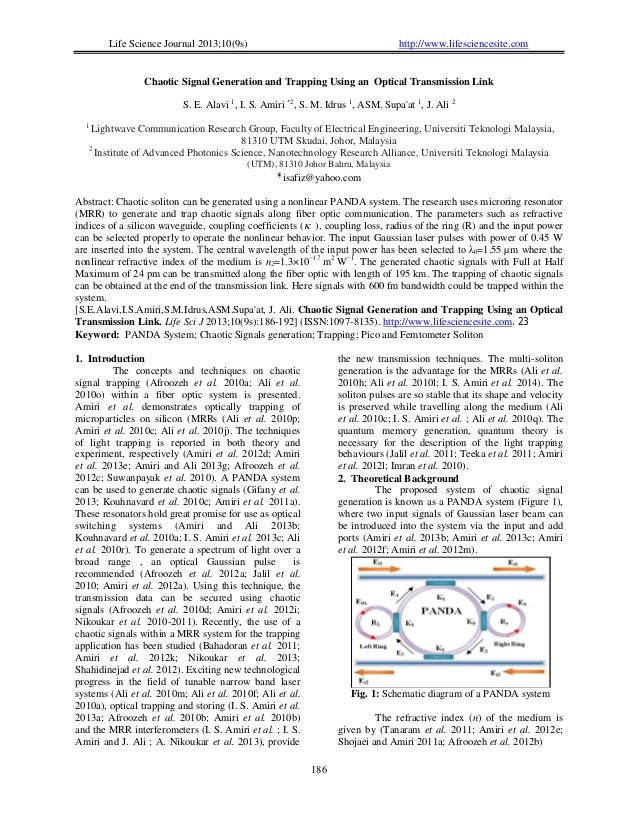 Life Science Journal 2013;10(9s) http://www.lifesciencesite.com 186 Chaotic Signal Generation and Trapping Using an Optica...