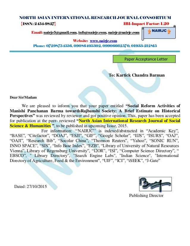 NORTH ASIAN INTERNATIONAL RESEARCH JOURNAL CONSORTIUM {ISSN: 2454-9827} IBI-Impact Factor: 1.20 Email: nairjc5@gmail.com, ...