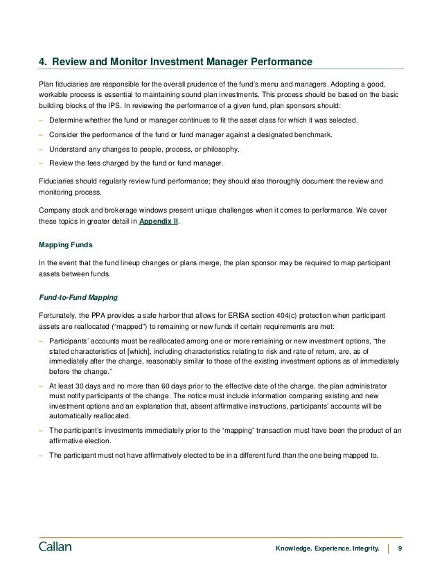 Managing Defined Contribution Plan Investments A Fiduciary Handbook – Stock Plan Administrator