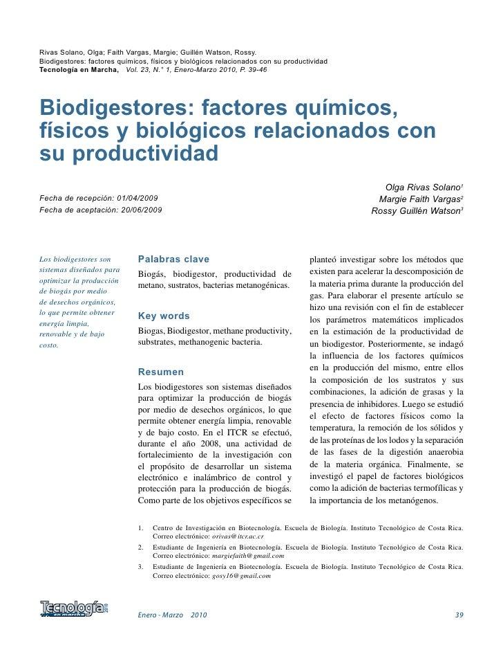 Rivas Solano, Olga; Faith Vargas, Margie; Guillén Watson, Rossy.Biodigestores: factores químicos, físicos y biológicos rel...