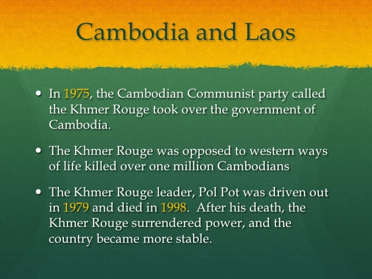 khmer rouge and stable communist environment Scars of the khmer rouge: how cambodia is healing from a fell to the genocidal khmer rouge regime of the communist party of the center for khmer.