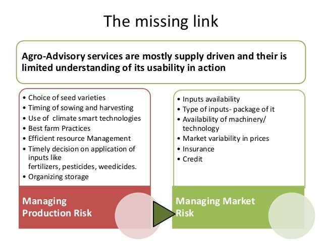 The missing linkAgro-Advisory services are mostly supply driven and their islimited understanding of its usability in acti...