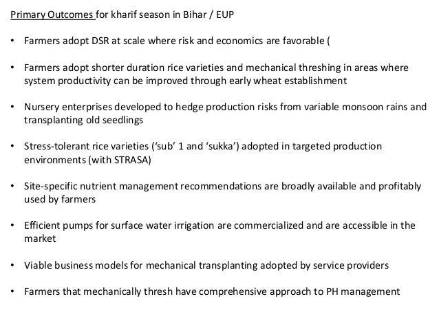 Primary Outcomes for kharif season in Bihar / EUP• Farmers adopt DSR at scale where risk and economics are favorable (• Fa...