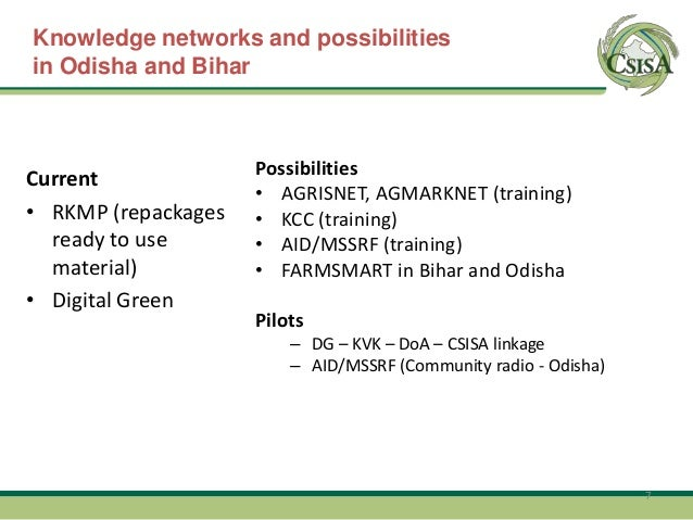 Pre – Khariff focus  Knowledge networks and possibilities in Odisha and Bihar       End Feb, early March – Odisha; report ...