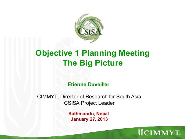 Objective 1 Planning Meeting       The Big Picture            Etienne DuveillerCIMMYT, Director of Research for South Asia...