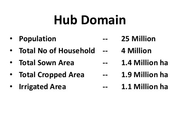 Hub Domain•   Population              --   25 Million•   Total No of Household   --   4 Million•   Total Sown Area        ...