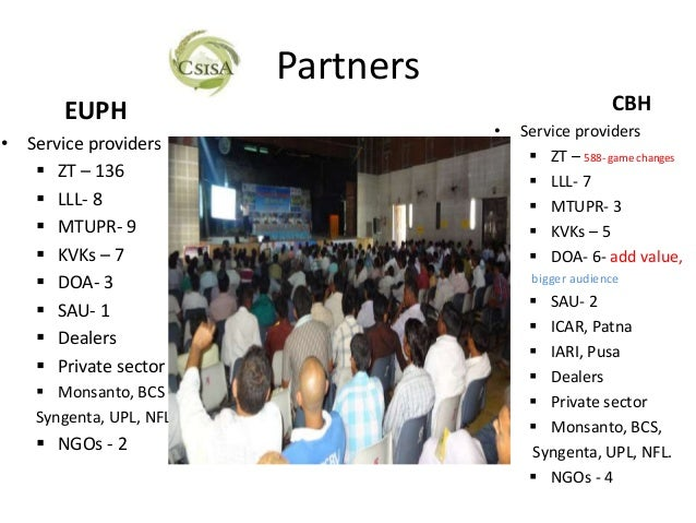 Partners       EUPH                                            CBH                                     •   Service provide...