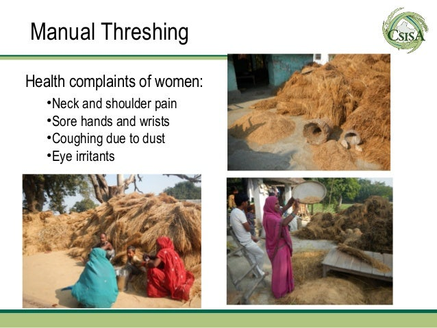 Manual ThreshingHealth complaints of women:   •Neck and shoulder pain   •Sore hands and wrists   •Coughing due to dust   •...