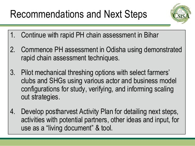 Recommendations and Next Steps1. Continue with rapid PH chain assessment in Bihar2. Commence PH assessment in Odisha using...