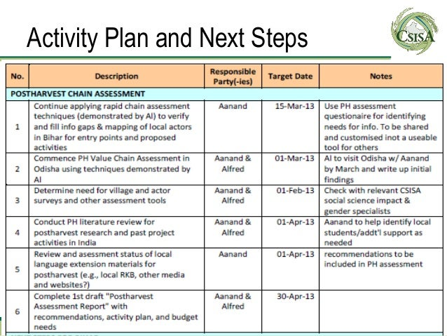 Activity Plan and Next Steps