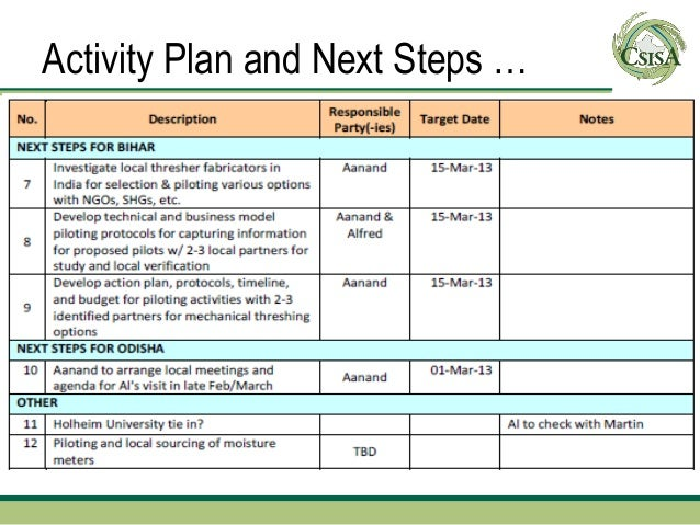 Activity Plan and Next Steps …