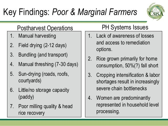 Key Findings: Poor & Marginal Farmers    Postharvest Operations               PH Systems Issues 1. Manual harvesting      ...