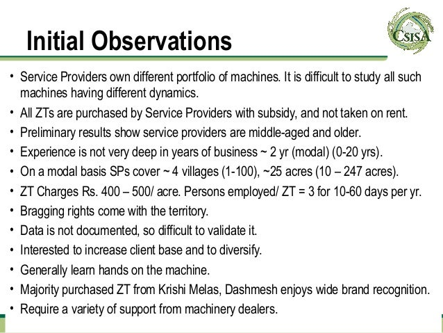 Initial Observations• Service Providers own different portfolio of machines. It is difficult to study all such  machines h...