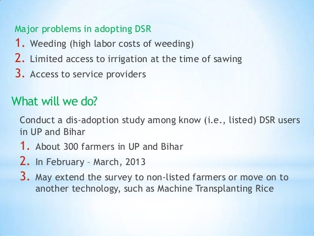 Major problems in adopting DSR1.   Weeding (high labor costs of weeding)2.   Limited access to irrigation at the time of s...
