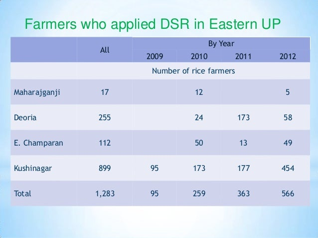 Farmers who applied DSR in Eastern UP                                         By Year                All                  ...