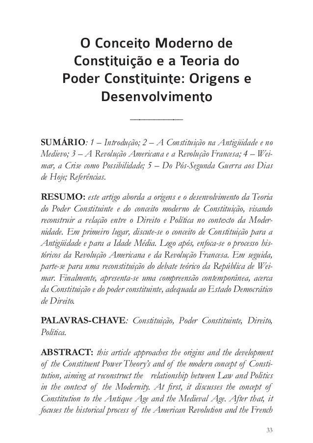 David Francisco Lopes  33  O Conceito Moderno de  Constituição e a Teoria do  Poder Constituinte: Origens e  Desenvolvimen...