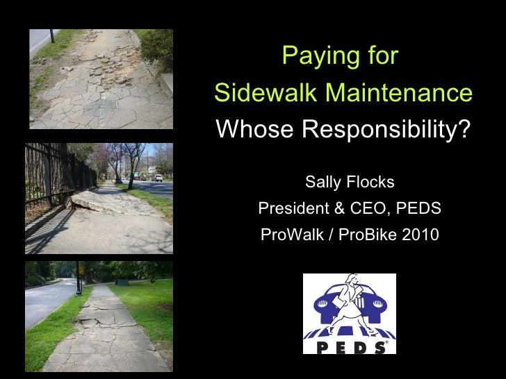 Sally Flocks President & CEO, PEDS ProWalk / ProBike 2010 Paying for  Sidewalk Maintenance Whose Responsibility?