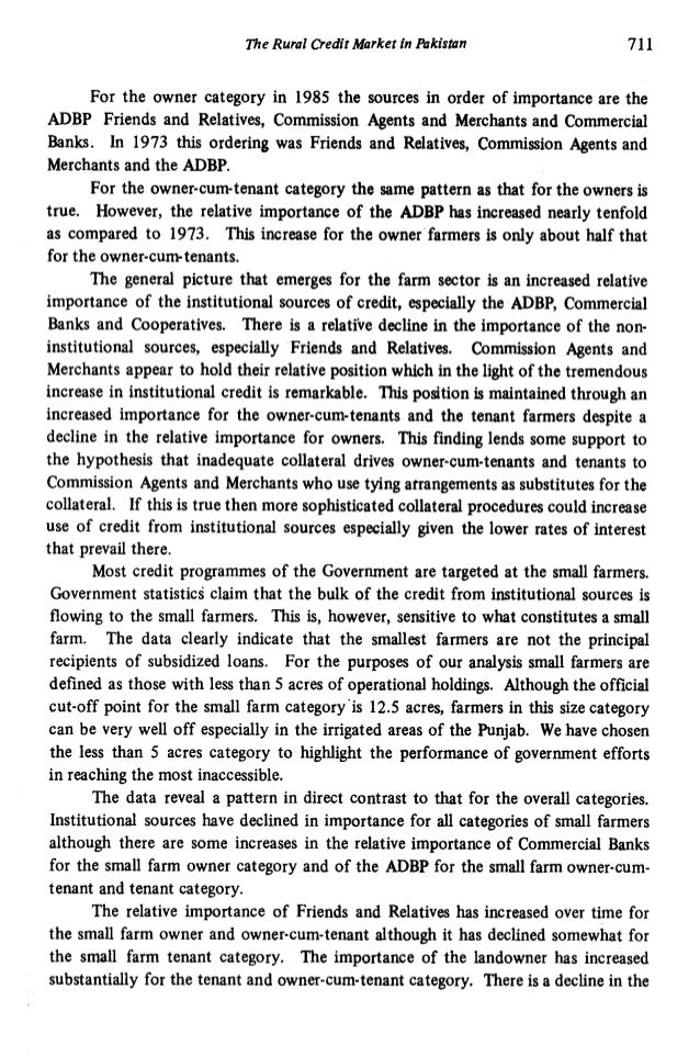 Differential Access and the Rural Credit Market in Pakistan Slide 3