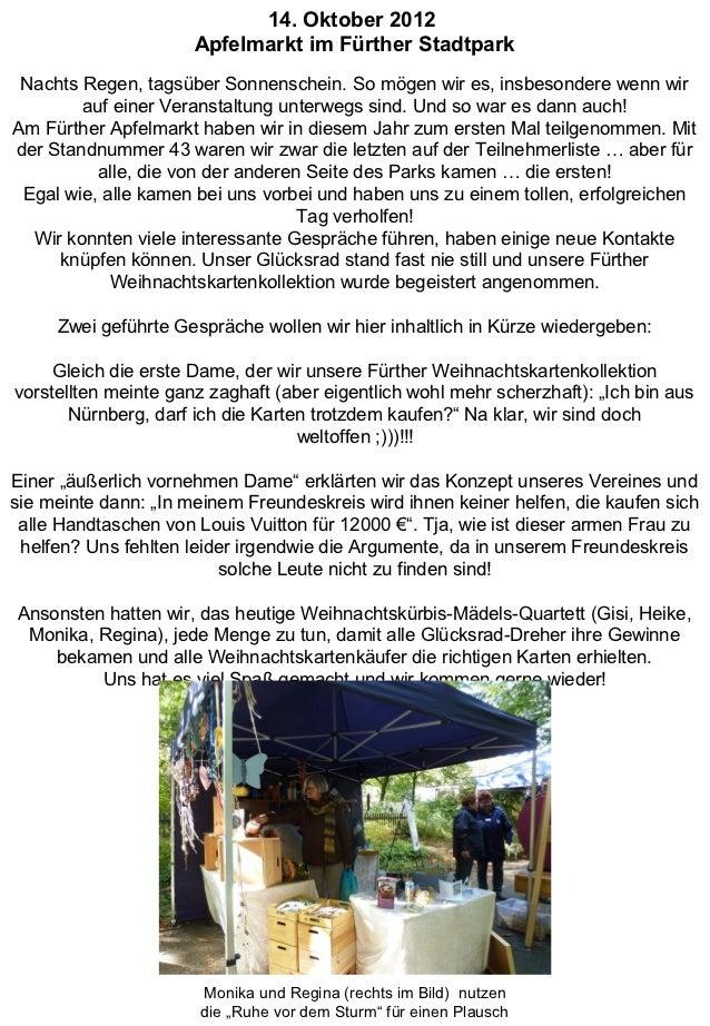14. Oktober 2012                      Apfelmarkt im Fürther Stadtpark Nachts Regen, tagsüber Sonnenschein. So mögen wir es...