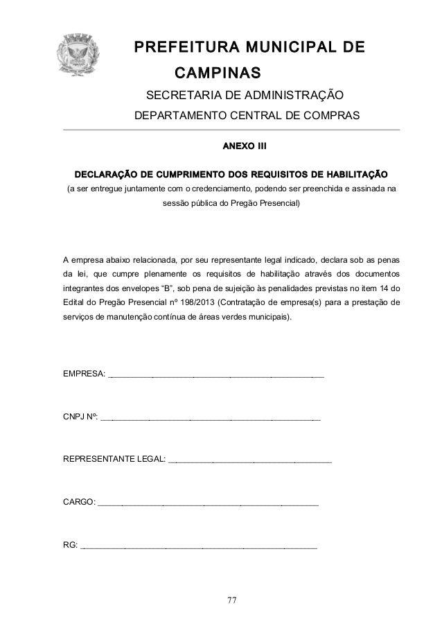 PREFEITURA MUNICIPAL DE CAMPINAS SECRETARIA DE ADMINISTRAÇÃO DEPARTAMENTO CENTRAL DE COMPRAS ANEXO III DECLARAÇÃO DE CUMPR...