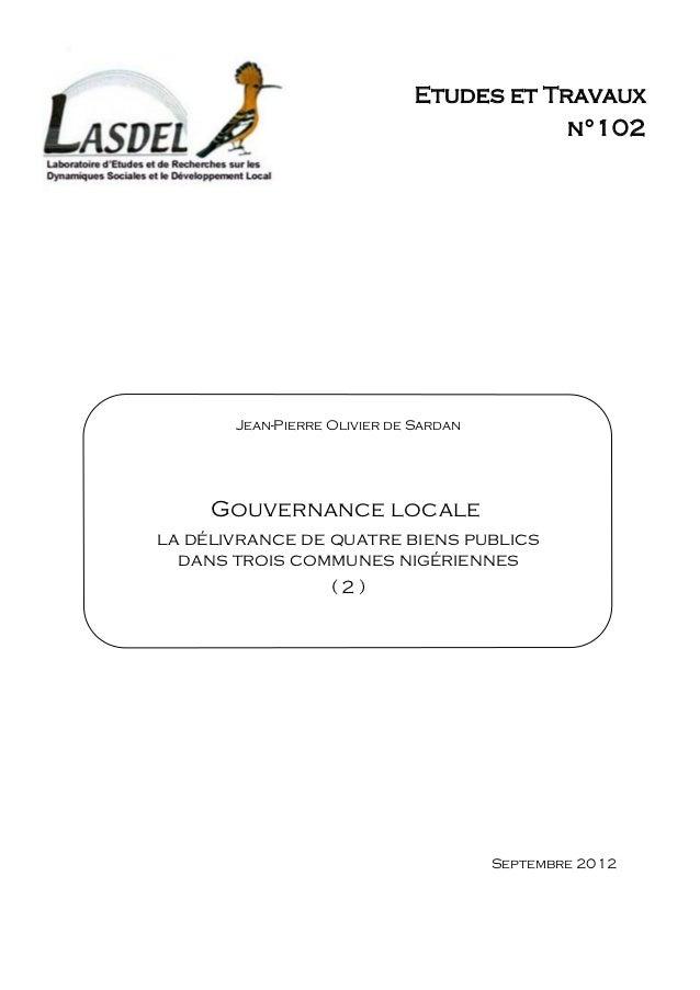 Etudes et Travaux                                          n°102       Jean-Pierre Olivier de Sardan     Gouvernance local...