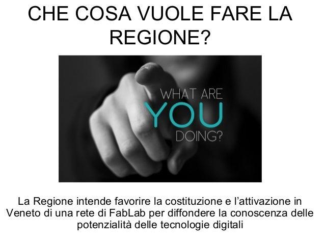 CHE COSA VUOLE FARE LA REGIONE? La Regione intende favorire la costituzione e l'attivazione in Veneto di una rete di FabLa...