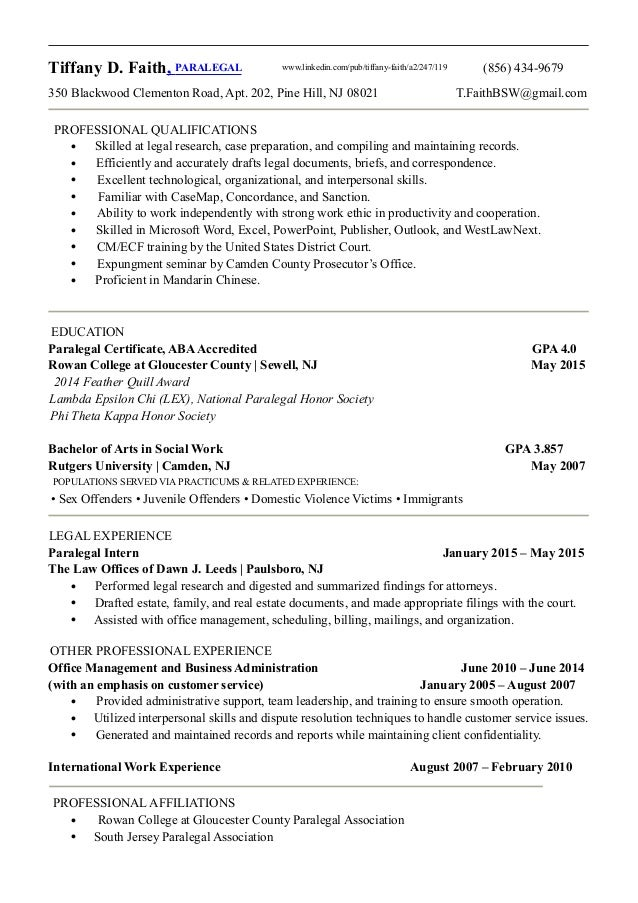 TFaith Paralegal Resume