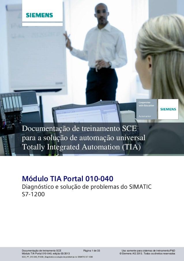Setor industrial, IA&DT Documentação de treinamento SCE Página 1 de 33 Uso somente para sistemas de treinamento/P&D Módulo...