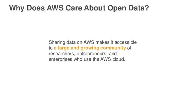 Why Does AWS Care About Open Data? Sharing data on AWS makes it accessible to a large and growing community of researchers...