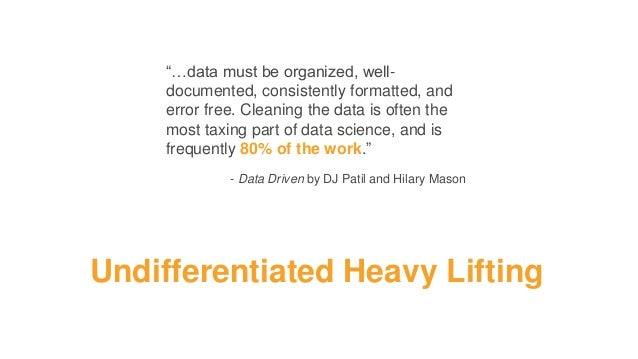 """""""…data must be organized, well- documented, consistently formatted, and error free. Cleaning the data is often the most ta..."""