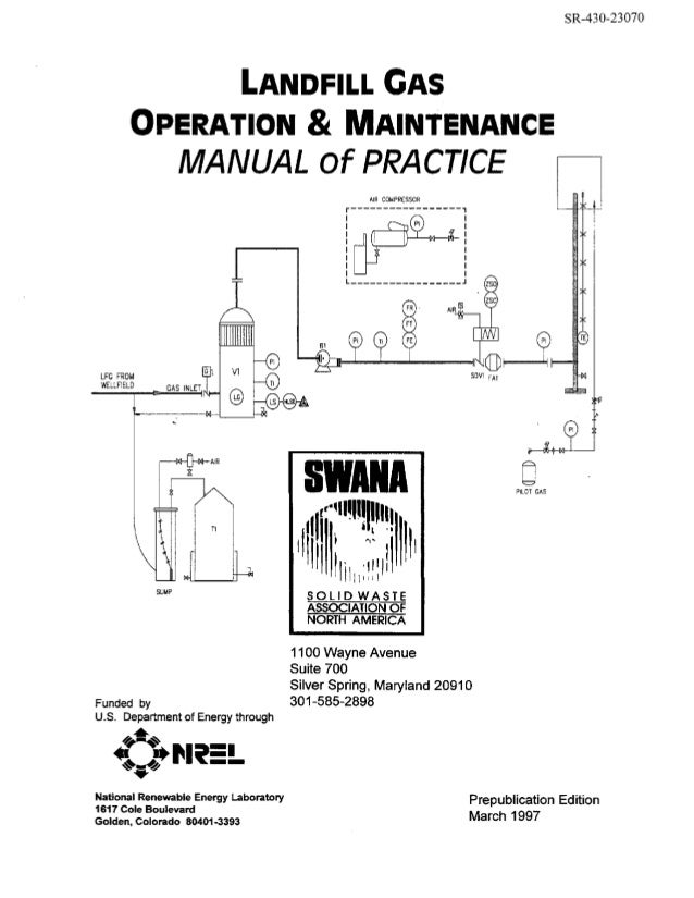"SR-430-23070  LANDFILL GAS  OPERATION MAINTENANCE & MANUAL of PRACTlCE AIR COMPRESSOR  I I  m-""  I n  i I  LFG FROM WELLFI..."