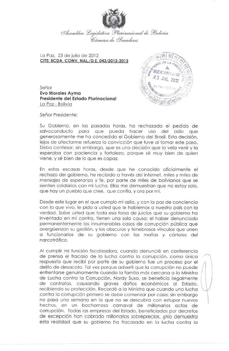 Carta de Roger Pinto a Morales 23/07/2012