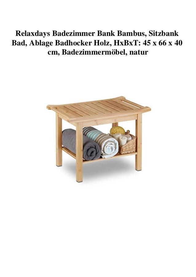 Relaxdays Badezimmer Bank Bambus, Sitzbank Bad, Ablage ...