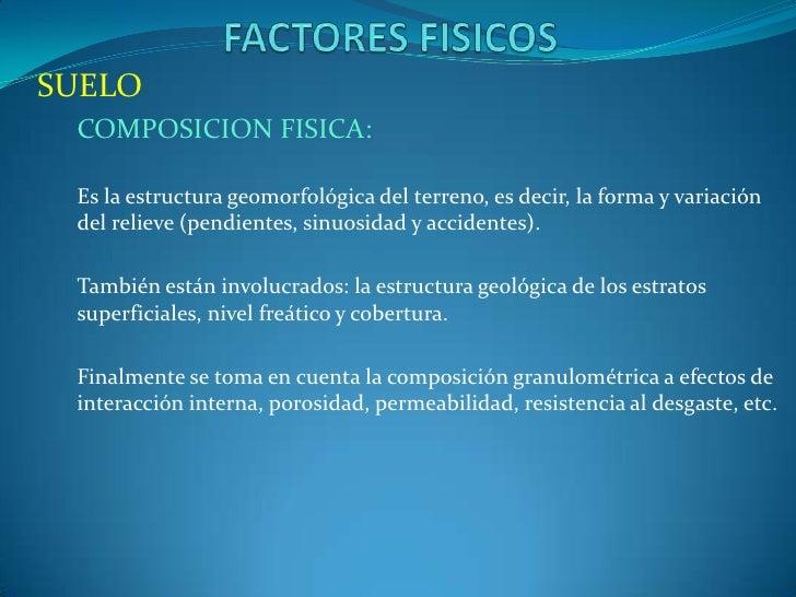 SUELO COMPOSICION FISICA: Es la estructura geomorfológica del terreno, es decir, la forma y variación del relieve (pendien...