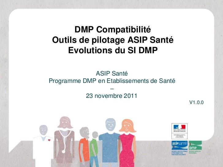 DMP Compatibilité Outils de pilotage ASIP Santé    Evolutions du SI DMP              ASIP SantéProgramme DMP en Etablissem...