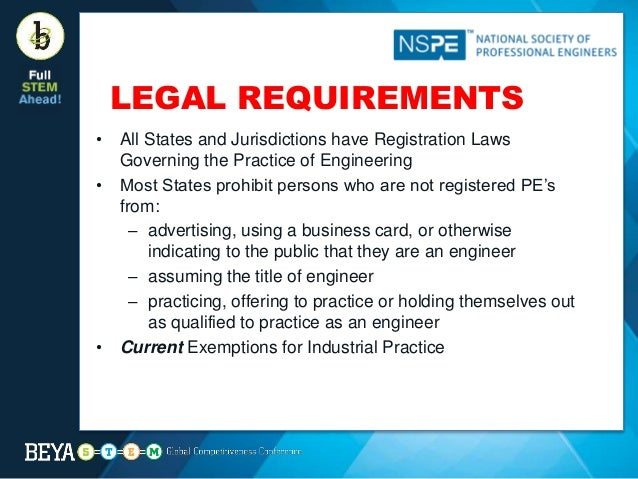 Licensure as a professional engineer its value and the steps to ta engineer current exemptions for industrial practice 7 reheart Gallery