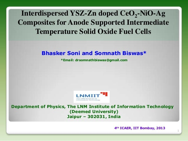 Interdispersed YSZ-Zn doped CeO2-NiO-Ag Composites for Anode Supported Intermediate Temperature Solid Oxide Fuel Cells Bha...